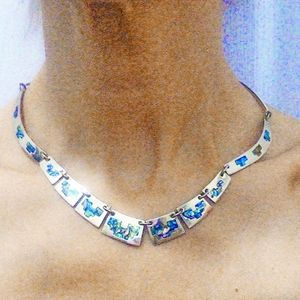Vintage Taxco Sterling Silver & Abalone Necklace